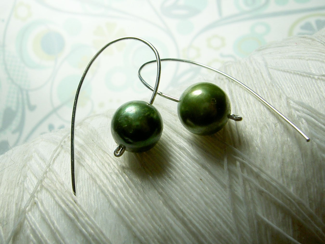 Not Your Grandmothers Pearls - modern freshwater green pearl earrings in sterling silver
