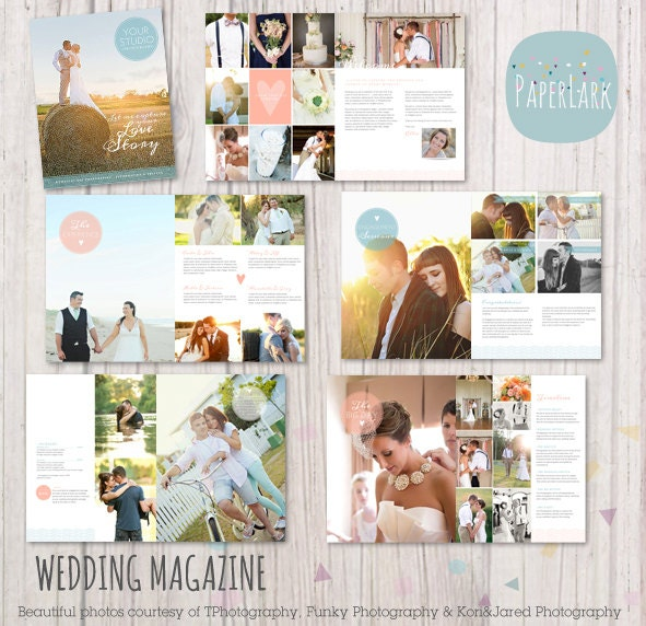 Unavailable listing on etsy for Wedding photography magazine template