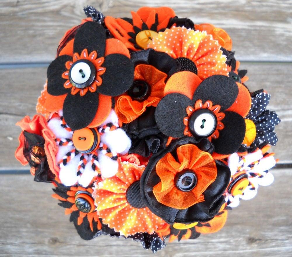 Orange Black White Button Wedding Bride Flower Girl Bouquet Centerpiece