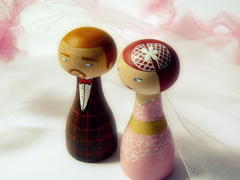 Cake Topper - Personalized Wedding Wooden art doll hand painted - teamspirit teamdiscovery