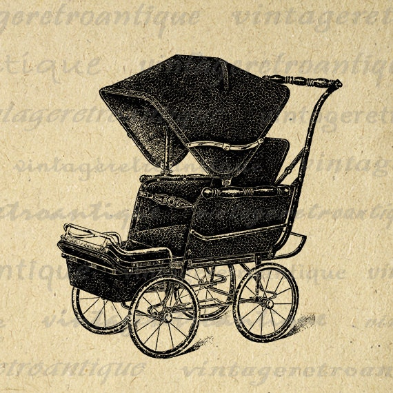 Items similar to Digital Image Antique Baby Carriage ...