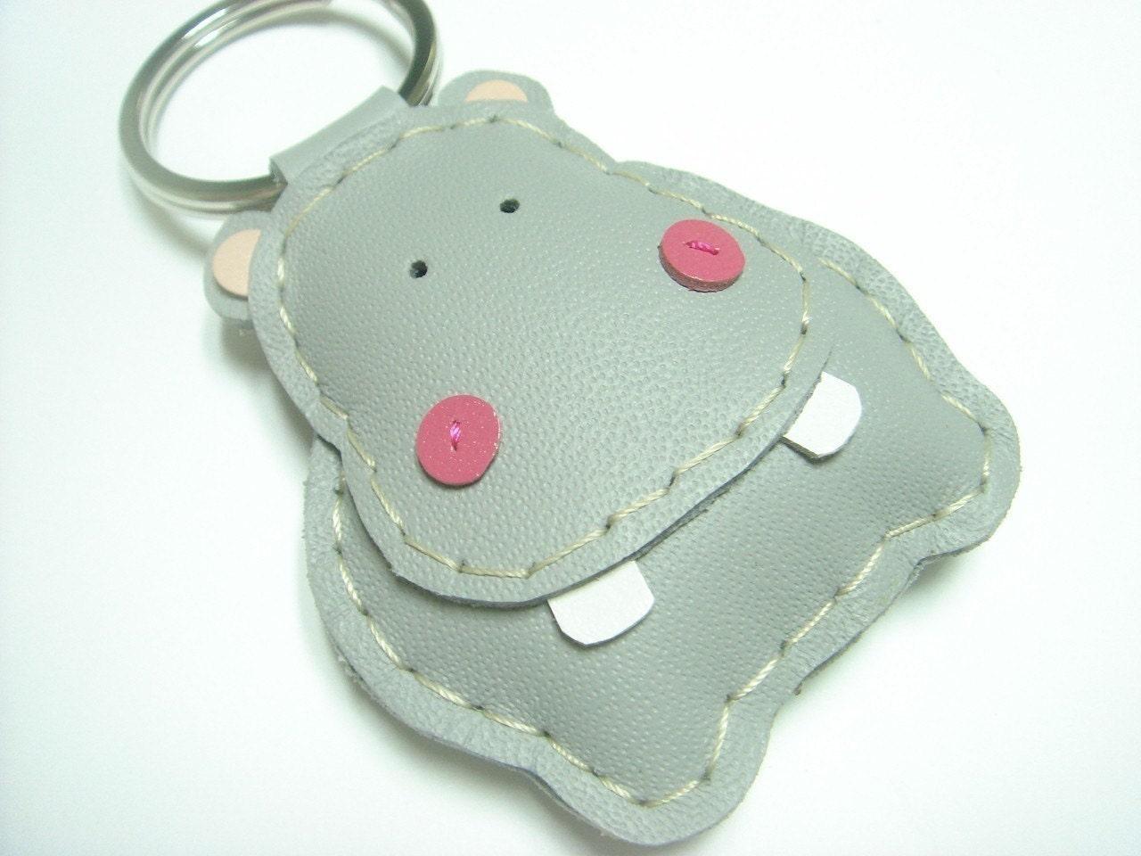 Hugo the Hippo Leather Keychain ( Grey )