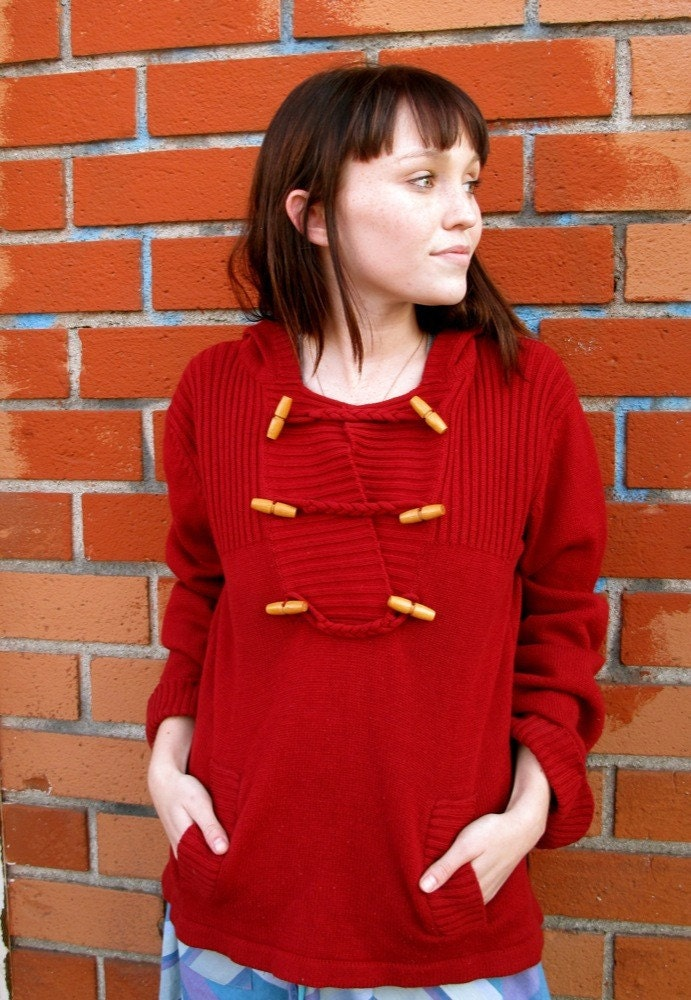 Little Miss Red Riding hood Vintage acrylic sweater with pockets