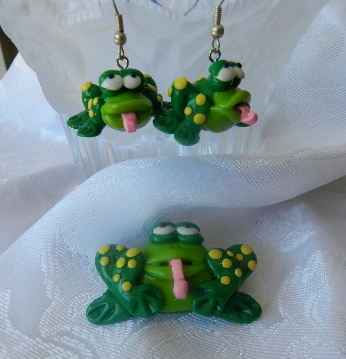 Ploymer clay frog earring and brooch set handmade by Pook Designz
