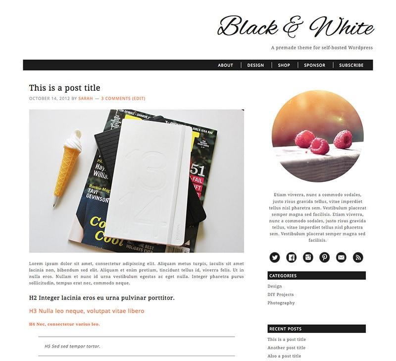 Responsive self hosted wordpress theme black by xosarahshop for Premade columns