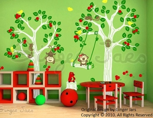 Kids wall decal vinyl art sticker Woodland playground 7 COLORS