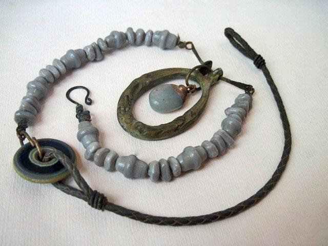 Overcast. Victorian Tribal Bronze Knocker Necklace.