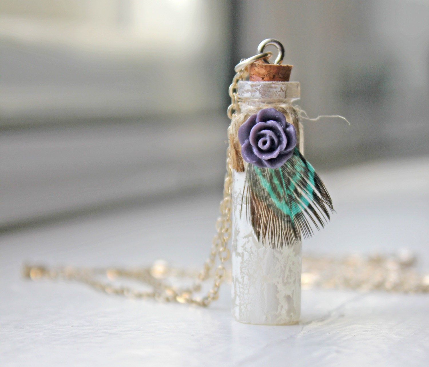 Rustic tiny glass bottle necklace with purple rose and green feather, green feather necklace, glass bottle necklace, purple rose - FeatherDeep