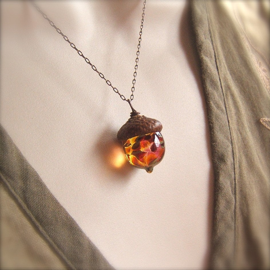 Glass Acorn Necklace in Autumn Tones by Bullseyebeads