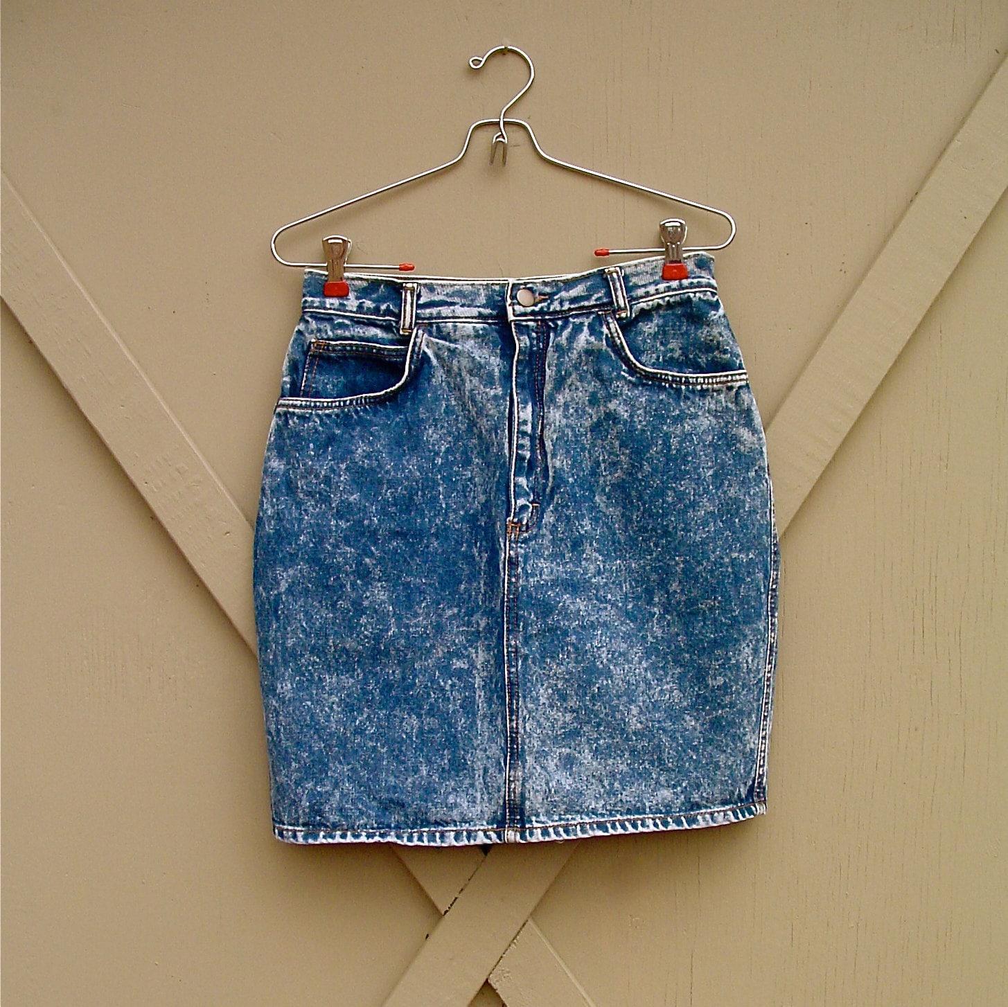 vintage acid wash high waist denim skirt by