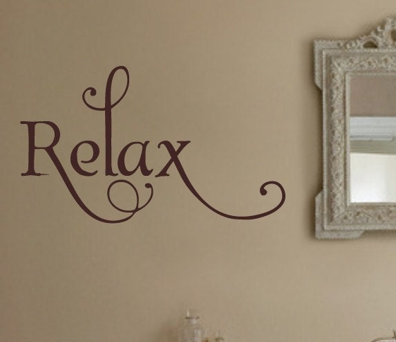 Relax bathroom vinyl wall lettering decal by wallstory on etsy for Bathroom wall letters
