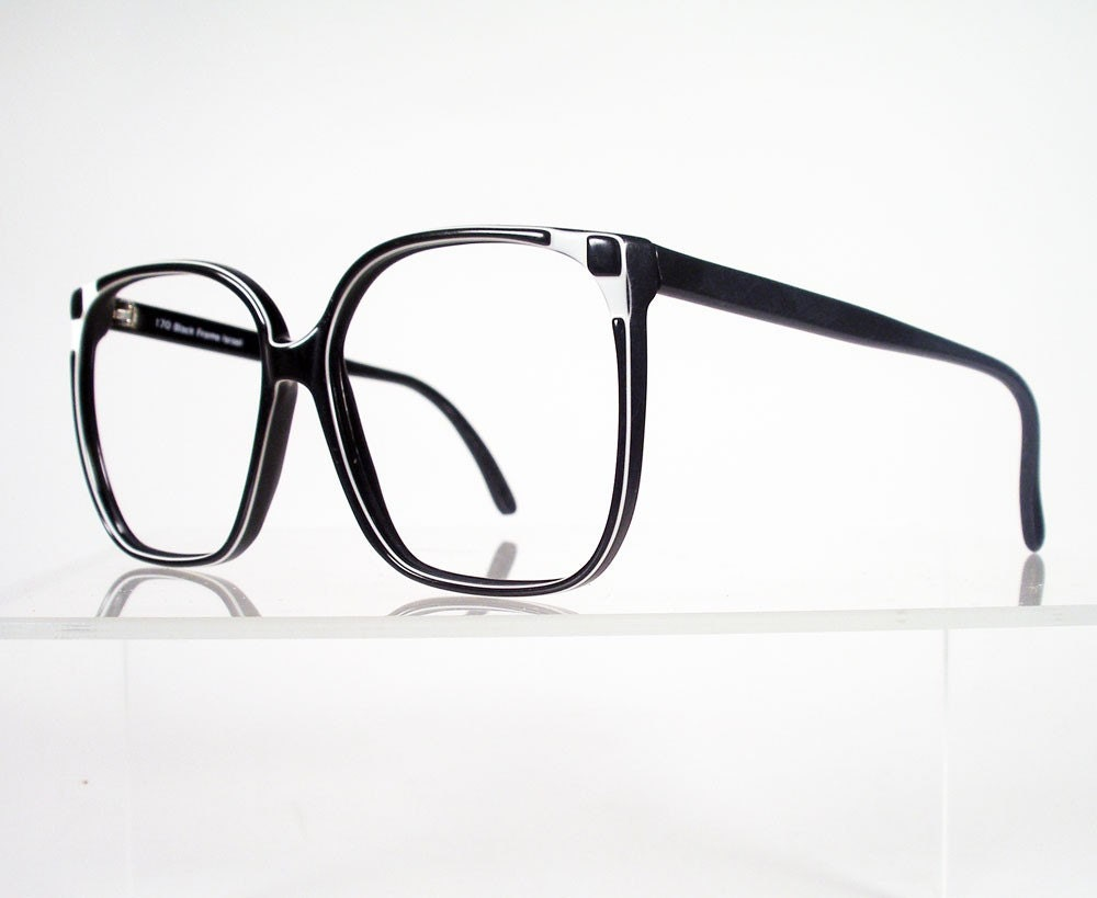 Eyeglass Frames Square : Vintage Black and White Large Square Eyeglass Frames by Chigal