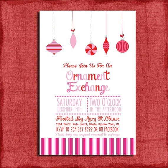 Christmas Ornament Exchange Party Invitations