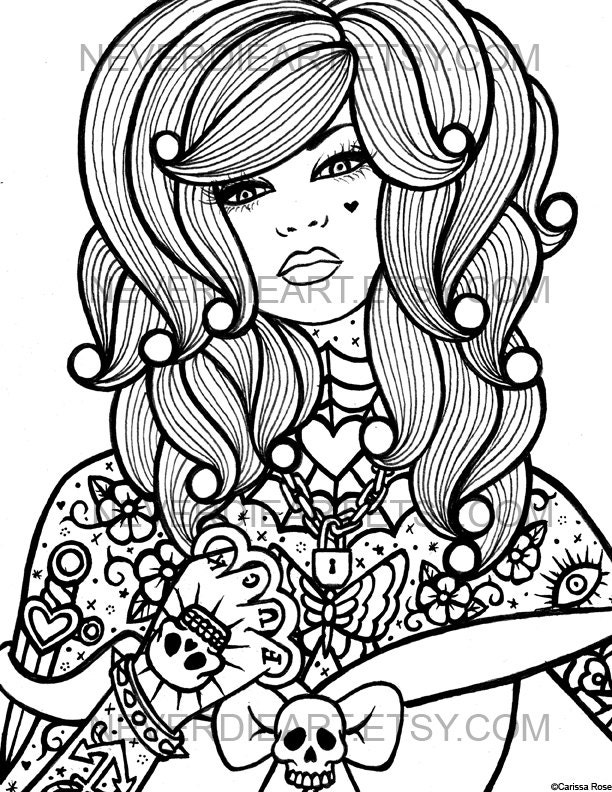 your own coloring book outline page - Sugar Skull Tattoo Coloring Pages