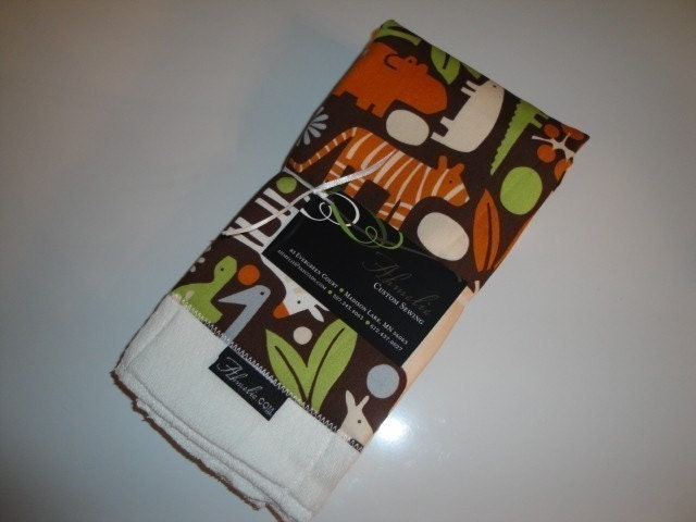 Etsy Zoo Chocolate burp cloth set (2)