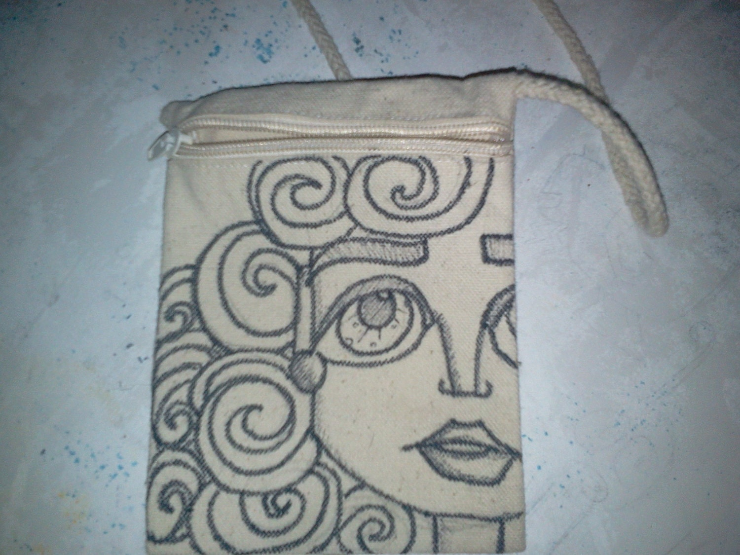 Small purse with original hand drawn art