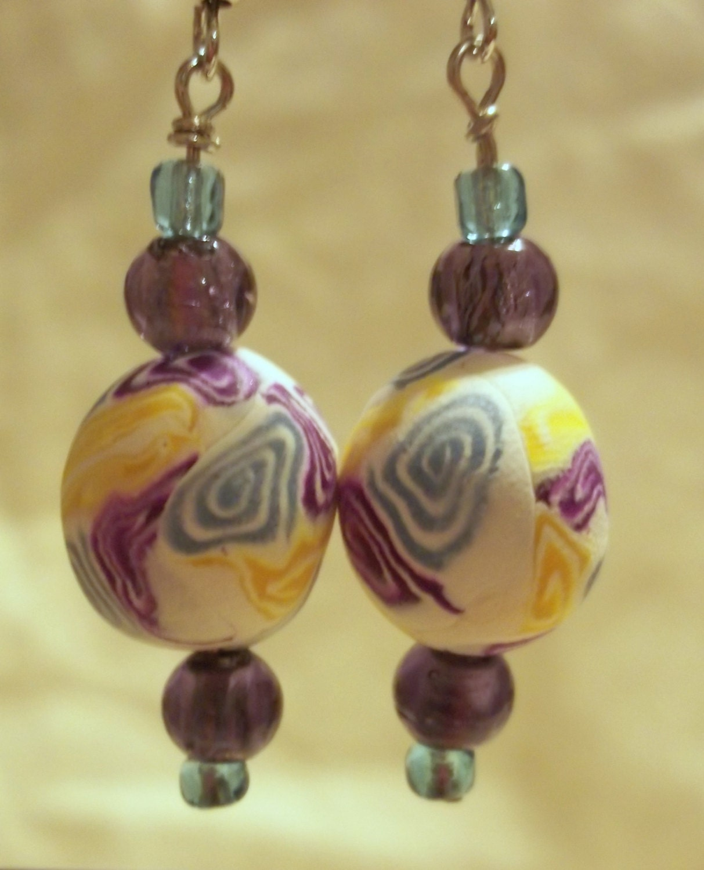 OOAK Purple and Blue Jewel Tone Earrings - FiberandBeadBoutique
