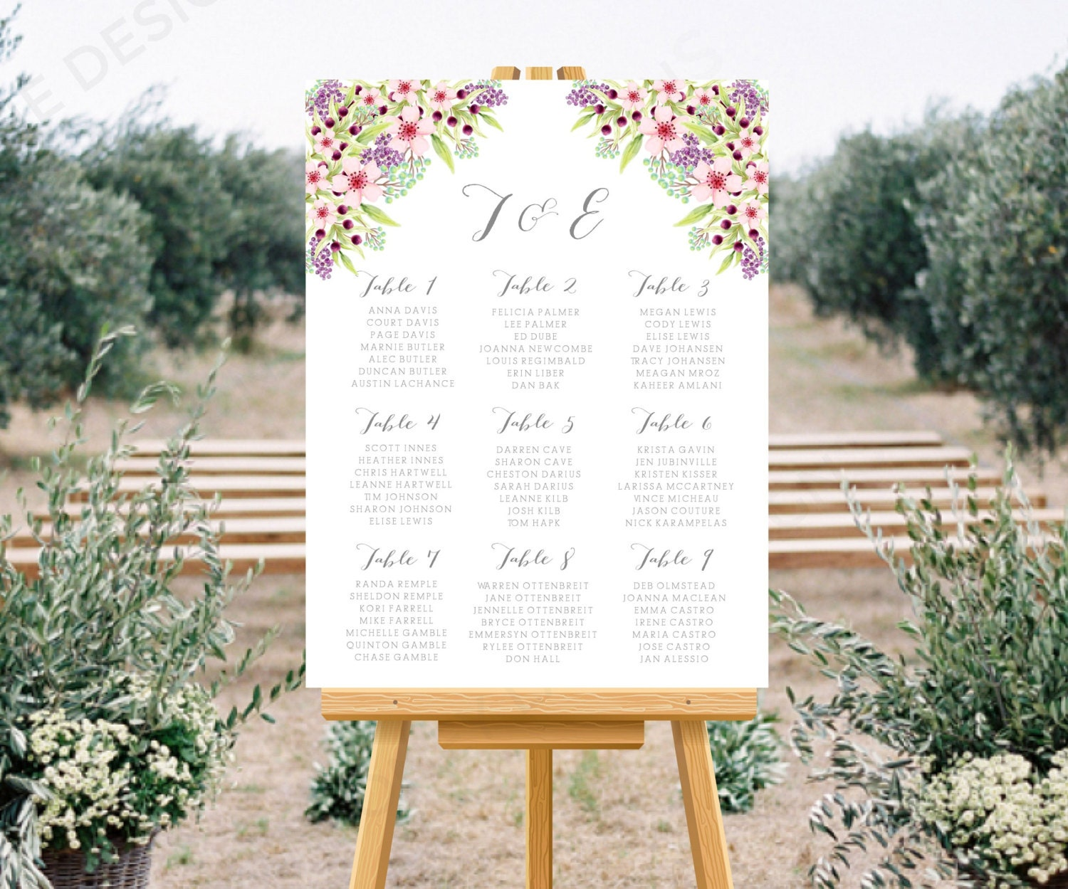 Personalised Printable Wedding Seating Chart Wedding Table Plan  Tara Collection