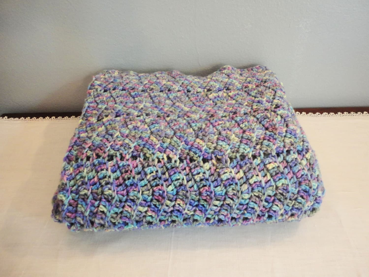 Crocheted Afghan in Ripple Pattern Blue Yellow by ...