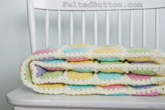 Puffy Crochet Baby Blanket Pattern : Puffy Patch Quilt Crochet Pattern Baby Blanket by FeltedButton