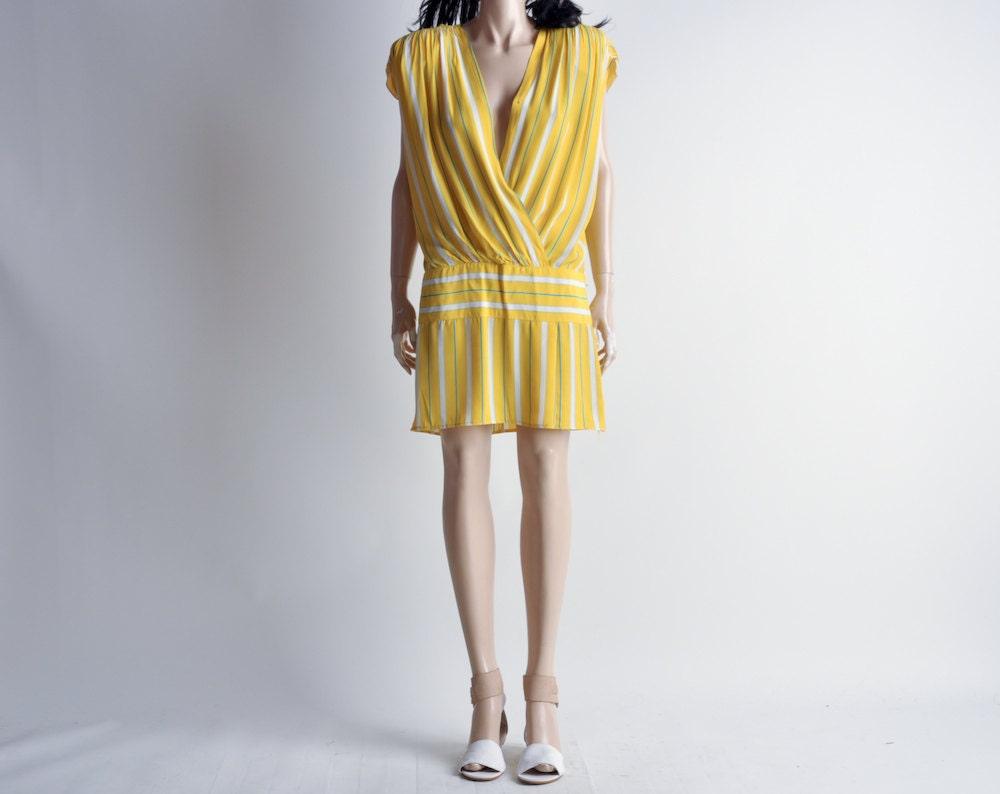 yellow striped dropwaist mini wrap dress s by