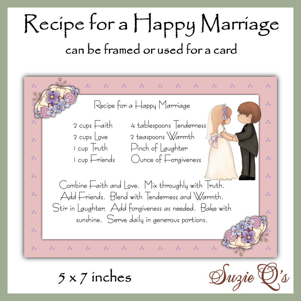 Recipe for a Happy Marriage Card Front Digital by ...