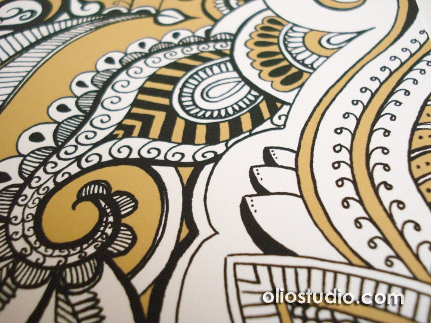 Gold Henna Art Print