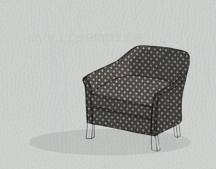 club chair (b/w) - print
