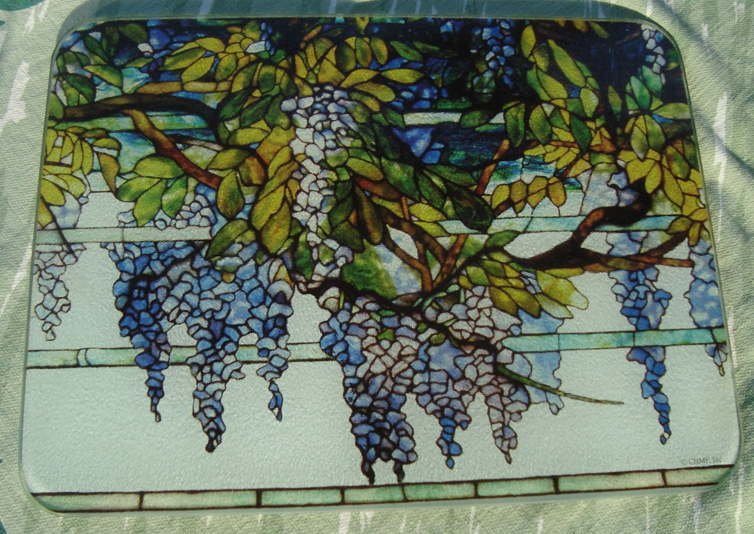 Wisteria tempered glass cutting board vintage by dominiondesign - Decorative tempered glass cutting boards ...