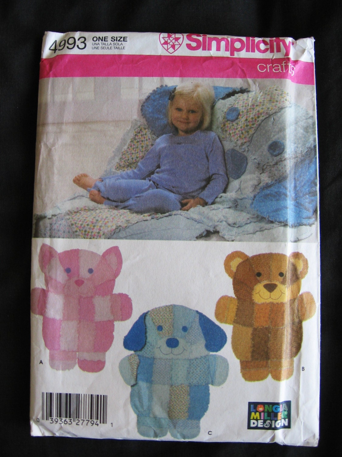 Simplicity crafts rag quilt wall hanging or throw by vntgfindz for Simplicity craft pattern 4993