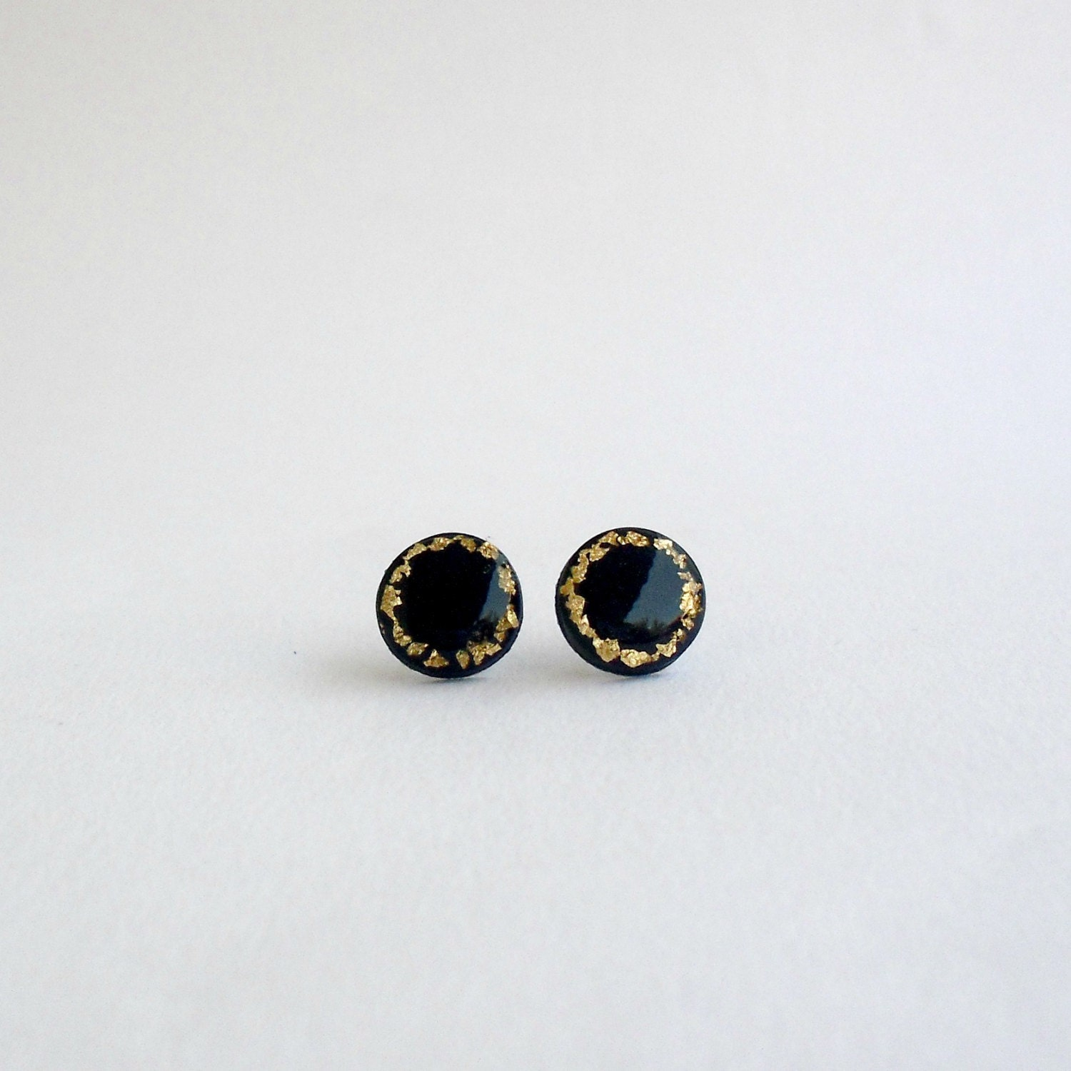 Navy blue and gold post earrings- Elegant polymer clay jewelry