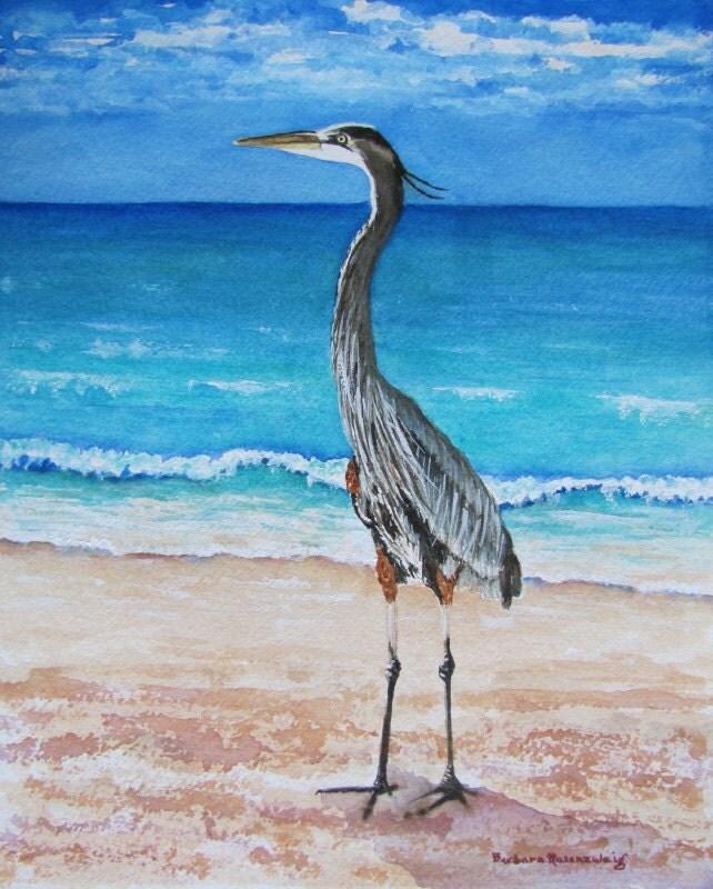 Blue Heron Beach Bird Art Print Painting Of By