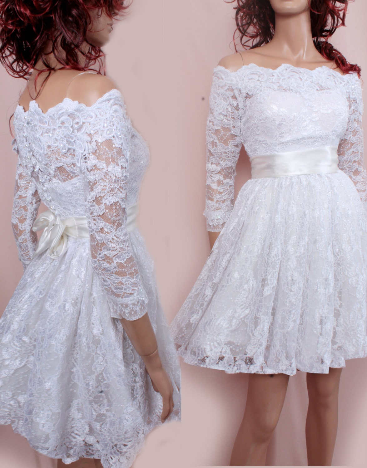 Plus size short wedding lace dresses by uptodatefashion for Have wedding dress made