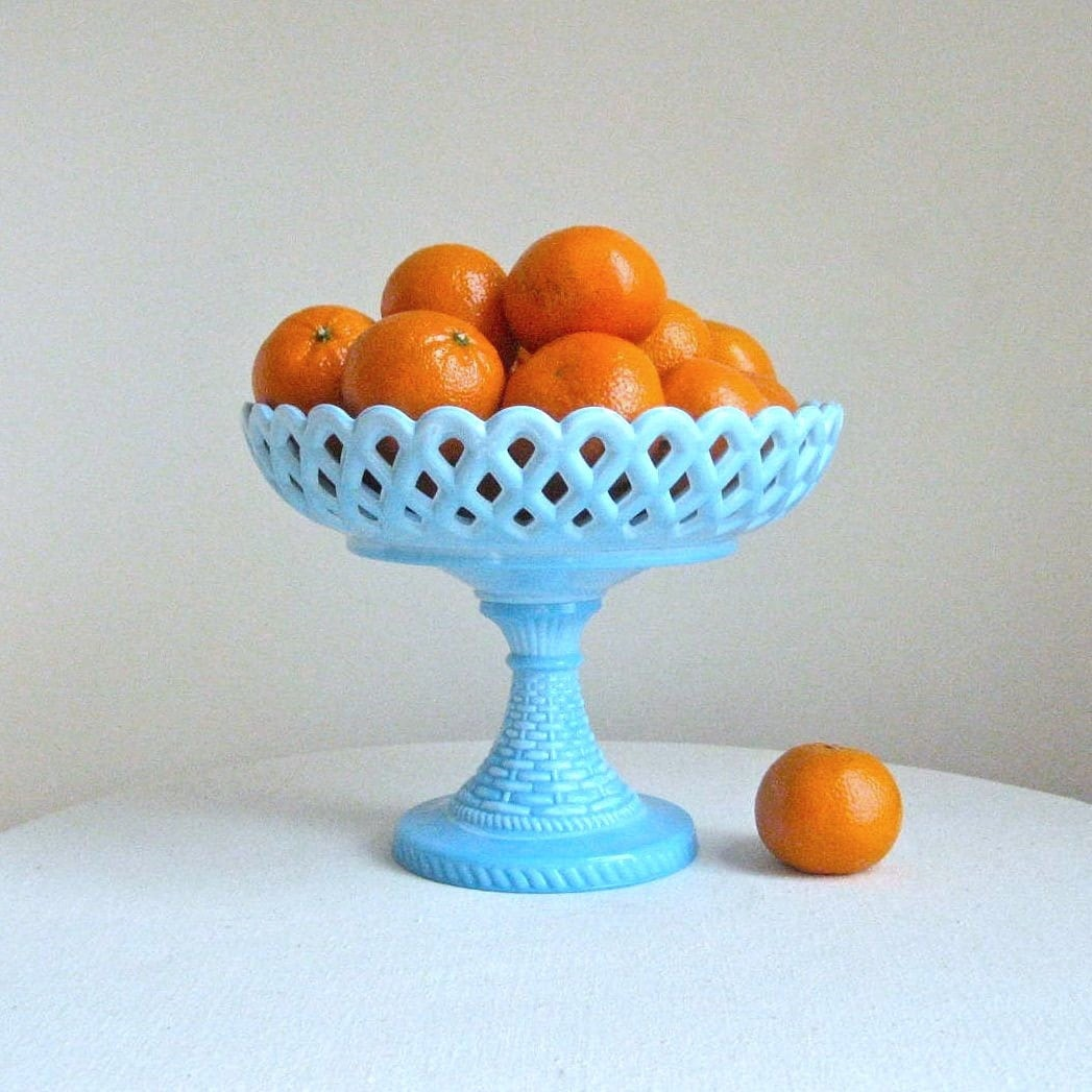 RESERVED for N-- Vintage Blue Milk Glass Fruit Bowl or Compote