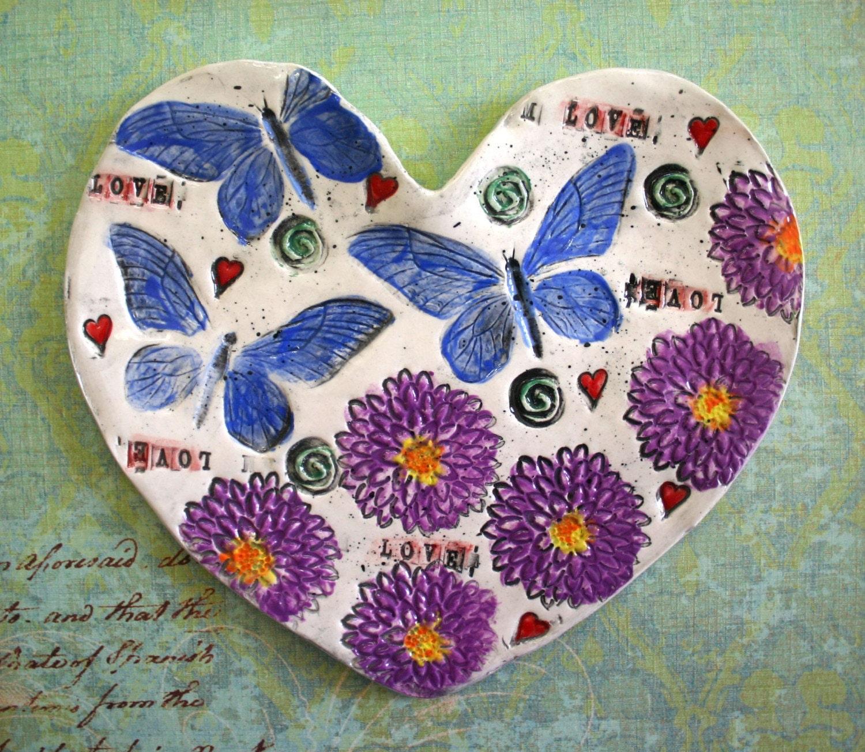 Heart  Plate Caribbean Soul Handmade 8 inch