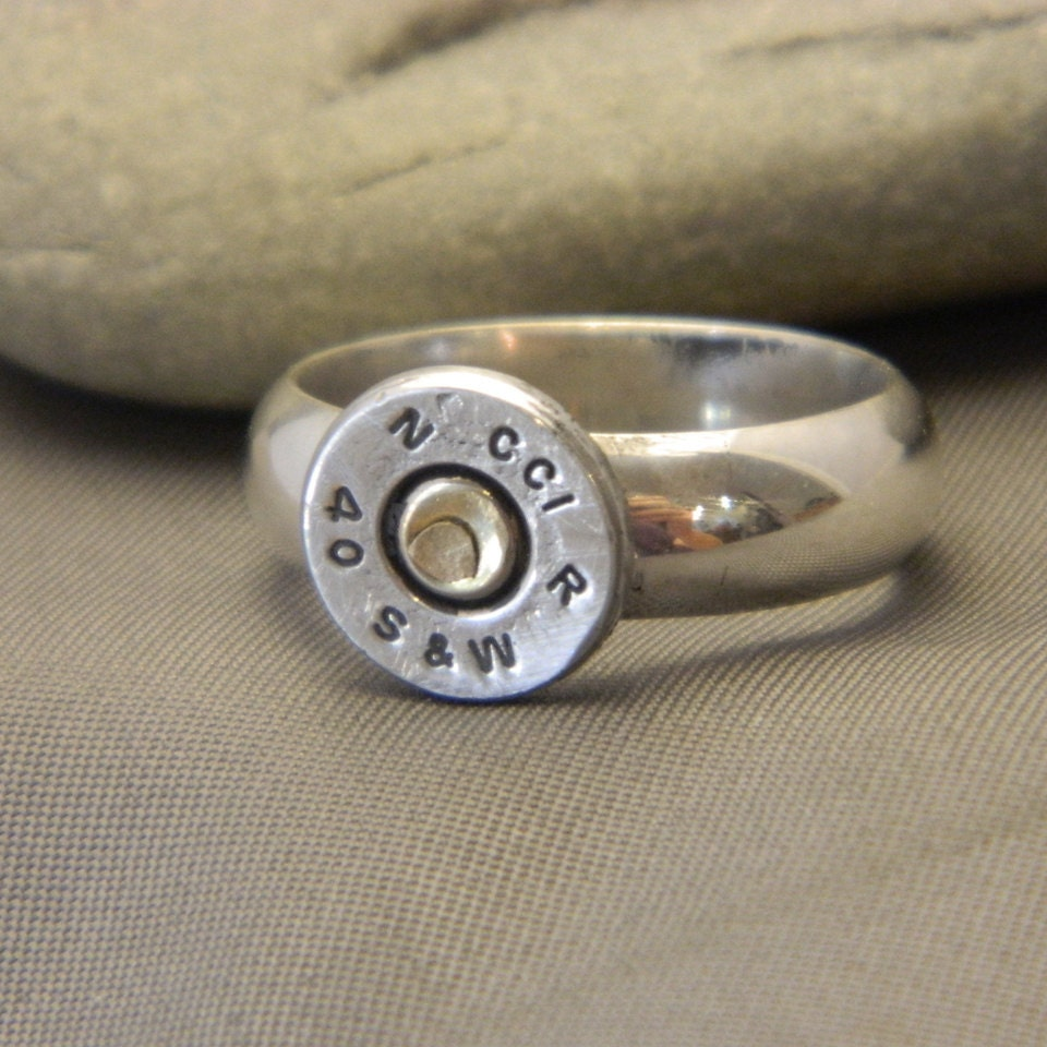 items similar to sterling silver bullet shell riveted ring