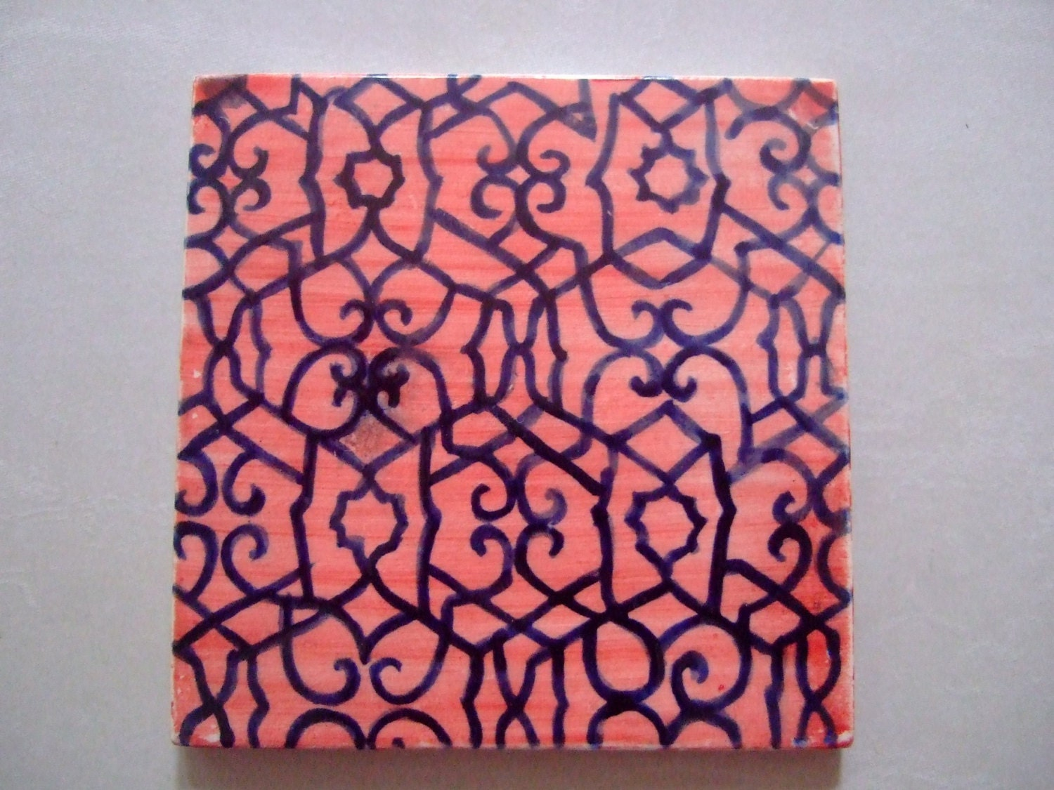 Handpainted Ceramic Tile With Moroccan Design By Terethsheba