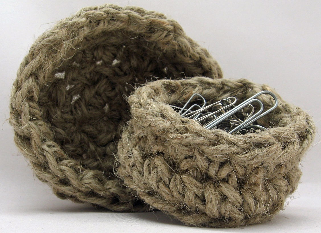 Handmade Jute Baskets : Small nested jute baskets handmade office by