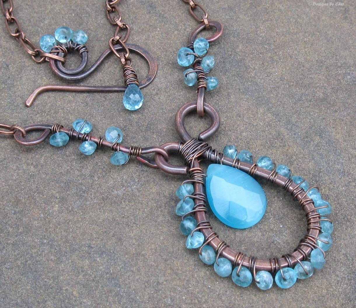 Apatite Gemstone & Antiqued Copper Necklace  Hand by designsbycher