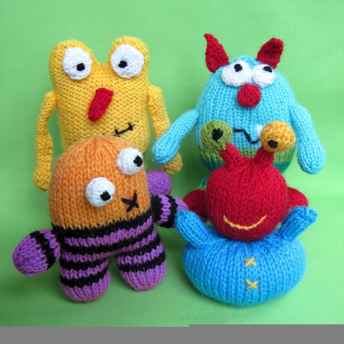 Little Monsters knitted toy INSTANT DOWNLOAD PDF by toyshelf