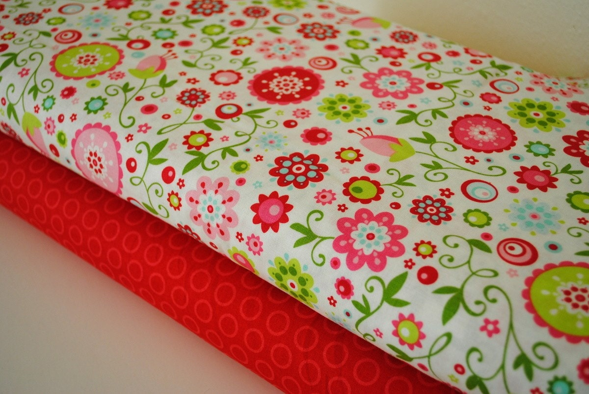 Quite Contrary White and Red Cheery Dots by Riley Blake 1 yard set of 2