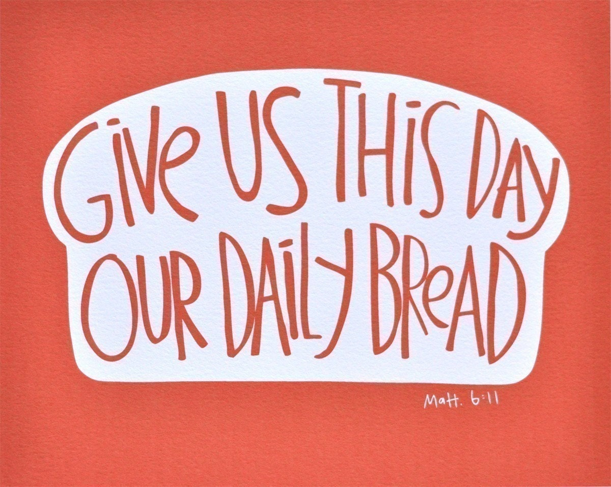 5x7 Daily Bread Print Red