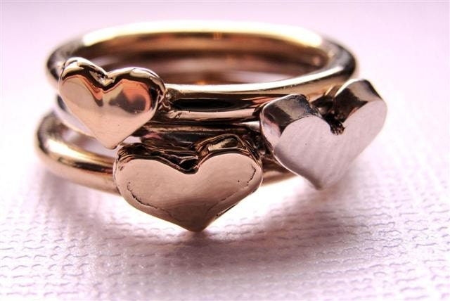 Sterling Silver 14kt Gold Heart Rings Stackable 3