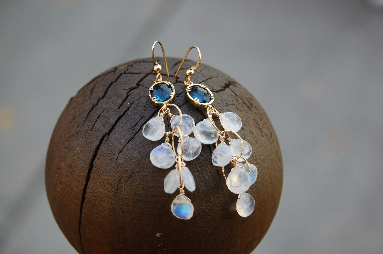 Moonstone blue topaz cluster earrings