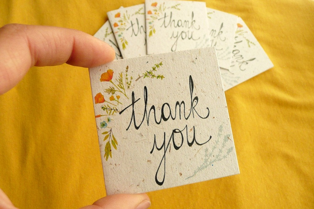 Thank You wildflower design (set of 6 mini ecofriendly cards printed on banana paper)