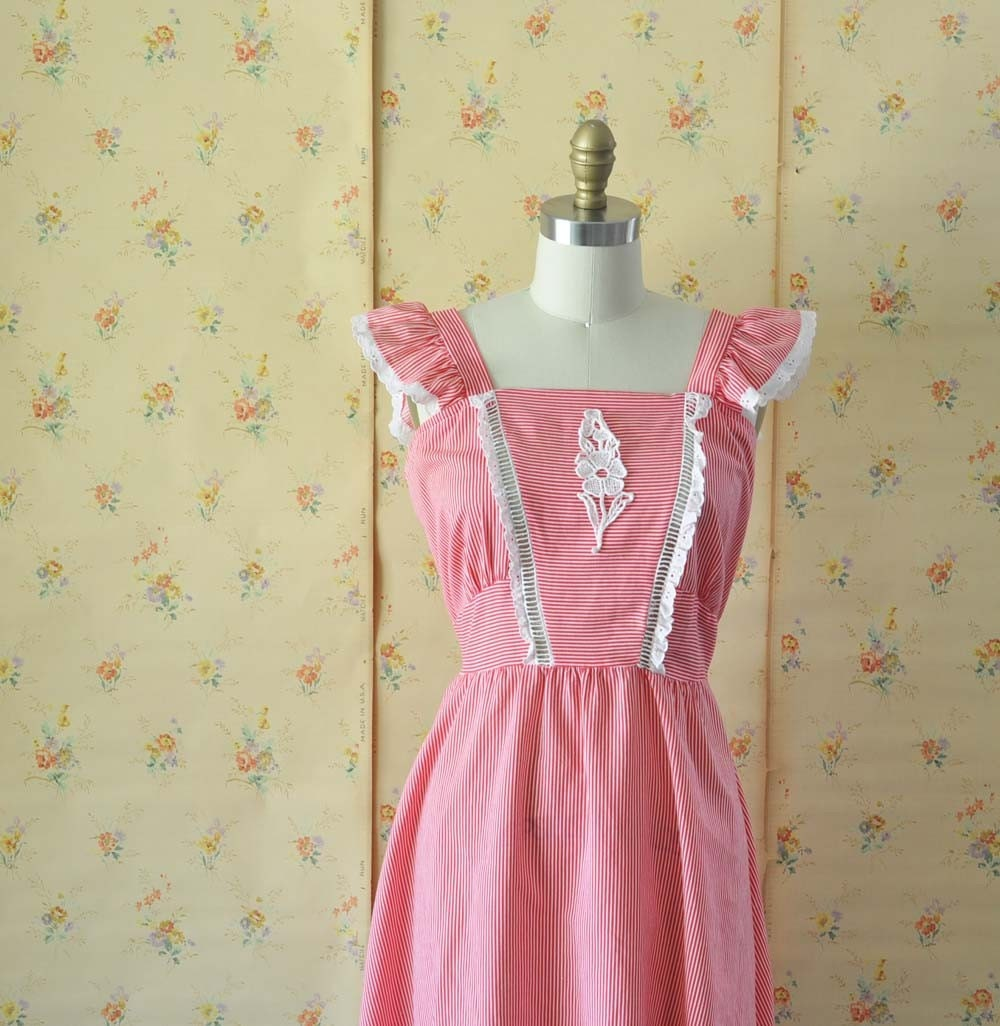 Vintage FRENCH STRIPE Pinafore Style Sun Dress by MariesVintage