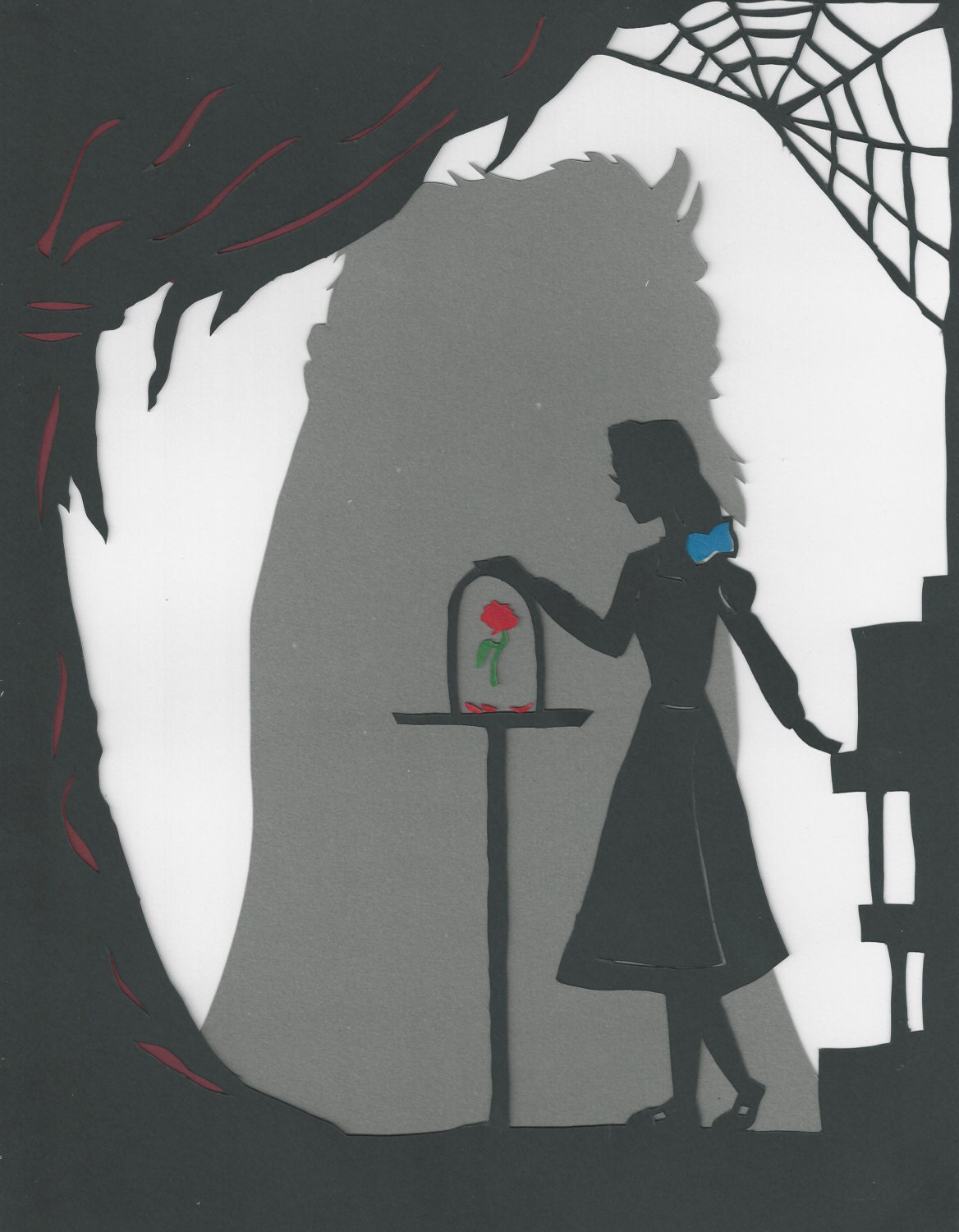 Paper Cut Silhouette, Beauty and the Beast: The Enchanted Rose