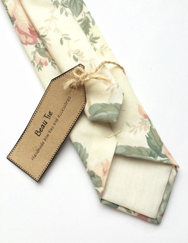 Floral tie vintage skinny tie ivory floral tie mens skinny tie rose print mens tie. wedding tie mens floral tie