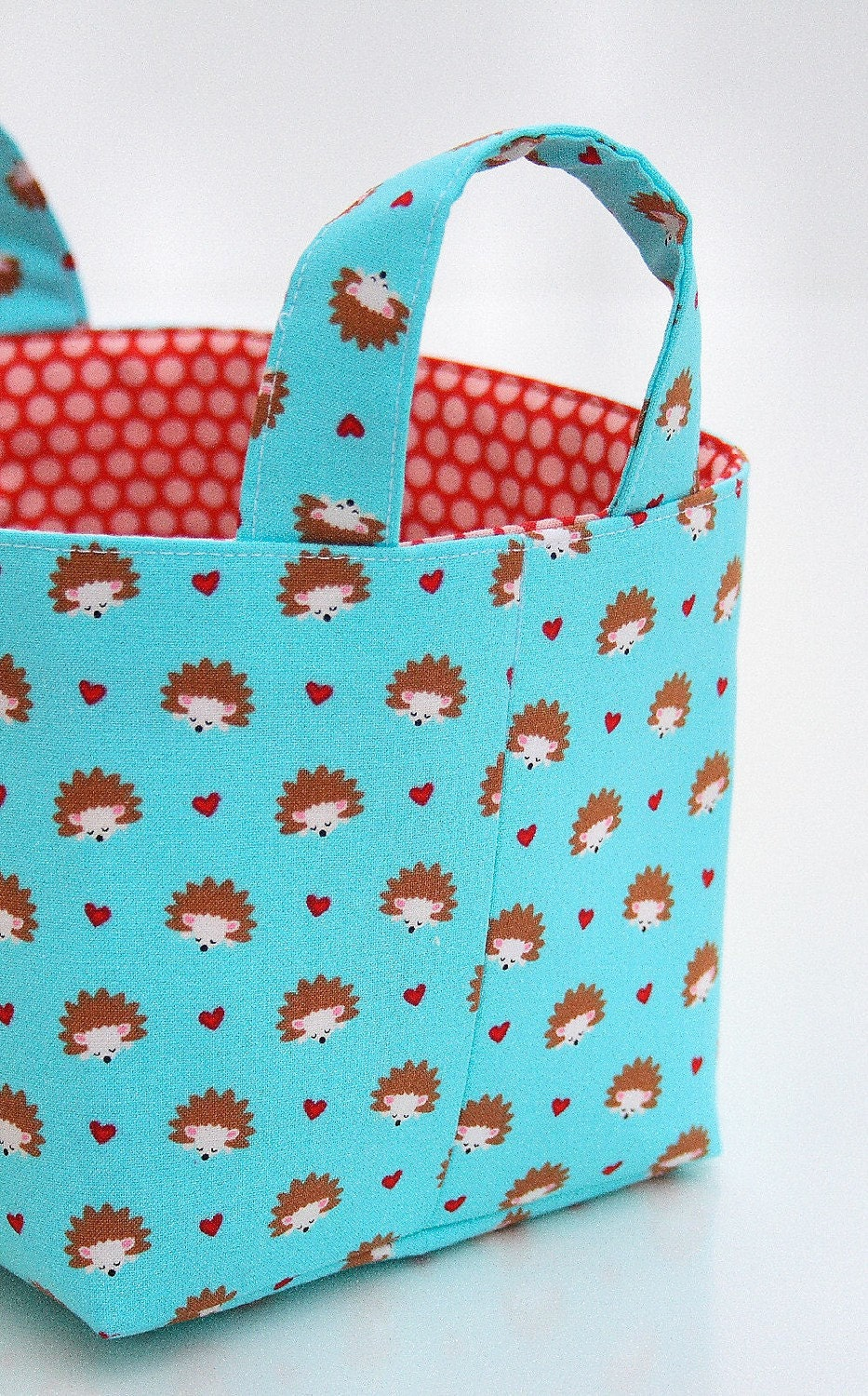 Fabric Organizer Basket Bin Reversible hedgehogs hearts