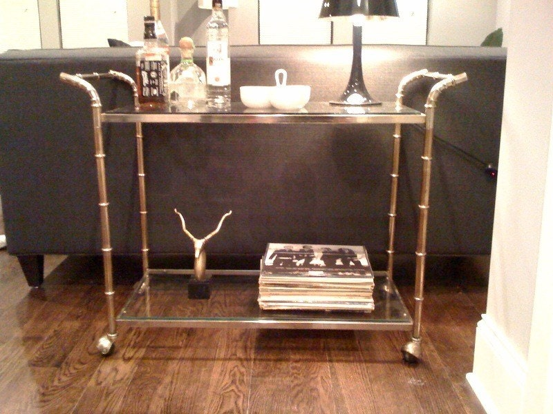 Hollywood Regency - Faux Bamboo Aluminum Drink Cart